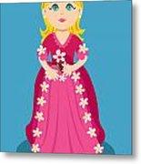 Little Cartoon Princess With Flowers Metal Print by Sylvie Bouchard