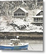 Lobster Boat After Snowstorm In Tenants Harbor Maine Metal Print by Keith Webber Jr