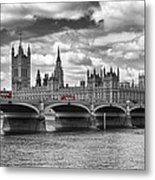 London - Houses Of Parliament And Red Buses Metal Print by Melanie Viola