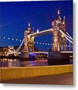 London Tower Bridge By Night Metal Print by Melanie Viola