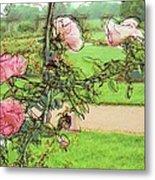 Looking Through The Rose Vine Metal Print by Stephanie Hollingsworth