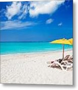 Lounge Chairs And Yellow Umbrellas Metal Print by Jo Ann Snover