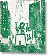 Love Park In Green Metal Print by Marita McVeigh