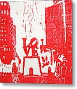 Love Park In Red Metal Print by Marita McVeigh