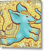 Lucky Elephant Turquoise Metal Print by Judith Grzimek