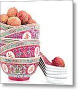 Lychees In Bowls With Spoons Metal Print by Jane Rix