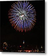 Fireworks Over The Empire State Building Metal Print by Nishanth Gopinathan
