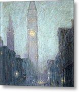 Madison Avenue At Twilight Metal Print by Lowell Birge Harrison