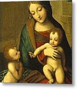 Madonna And Child With The Infant Saint John Metal Print by Antonio Allegri Correggio