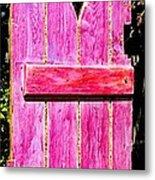 Magenta Painted Door In Garden  Metal Print by Asha Carolyn Young and Daniel Furon