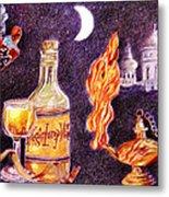 Magic Lamp Wine Metal Print by Candace  Hardy