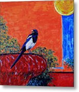 Magpie Singing At The Bath Metal Print by Xueling Zou