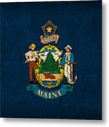 Maine State Flag Art On Worn Canvas Metal Print by Design Turnpike