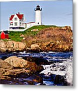 Maine's Nubble Light Metal Print by Mitchell R Grosky