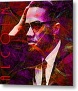 Malcolm X 20140105m28 With Text Metal Print by Wingsdomain Art and Photography