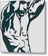 Man Nude Pop Stylised Etching Art Poster  Metal Print by Kim Wang