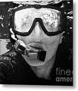Man Snorkeling With Mask And Snorkel In Clear Water Dry Tortugas Florida Keys Usa Metal Print by Joe Fox