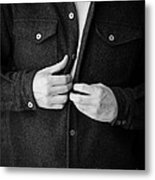 Man Unbuttoning His Shirt Metal Print by Edward Fielding