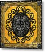 Mandala Obsidian Cross Metal Print by Bedros Awak