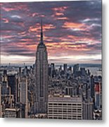 Manhattan Under A Red Sky Metal Print by Joachim G Pinkawa