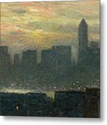 Manhattans Misty Sunset Metal Print by Childe Hassam