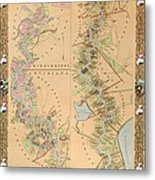 Map Depicting Plantations On The Mississippi River From Natchez To New Orleans Metal Print by American School