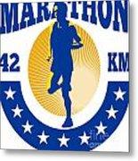 Marathon Runner Athlete Running Metal Print by Aloysius Patrimonio
