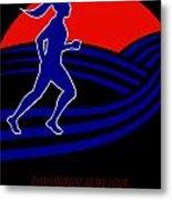 Marathon Runner Female Pushing Limits Poster Metal Print by Aloysius Patrimonio