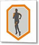 Marathon Runner Running Front Shield Retro Metal Print by Aloysius Patrimonio