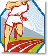 Marathon Runner Running Race Track Retro Metal Print by Aloysius Patrimonio