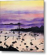 Marblehead Sunset Watercolor Metal Print by Michelle Wiarda
