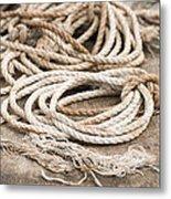 Marine Ropes Beige And Brown Colors Metal Print by Matthias Hauser