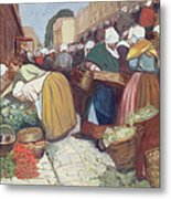 Market In Brest Metal Print by Fernand Piet