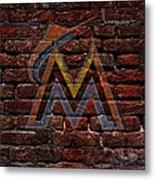 Marlins Baseball Graffiti On Brick  Metal Print by Movie Poster Prints