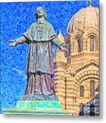 Marseille Cathedral Painting Metal Print by Antony McAulay