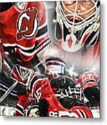 Martin Brodeur Collage Metal Print by Mike Oulton
