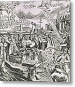 Martin Luther 1483 1546 Writing On The Church Door At Wittenberg In 1517  Metal Print by Swiss School