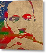 Martin Luther King Jr Watercolor Portrait On Worn Distressed Canvas Metal Print by Design Turnpike
