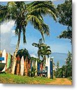 Maui Surfboard Fence - Peahi Metal Print by Sharon Mau