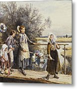 May Day Garlands Metal Print by Myles Birket Foster