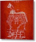 Mechanical Horse Patent Drawing From 1893 - Red Metal Print by Aged Pixel