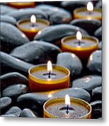 Meditation Candles Metal Print by Olivier Le Queinec