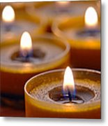 Meditation Candles Path Metal Print by Olivier Le Queinec