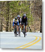 Men In A Bike Race Metal Print by Susan Leggett