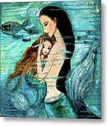 Mermaid Mother And Child Metal Print by Shijun Munns