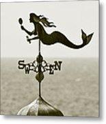Mermaid Weathervane In Sepia Metal Print by Ben and Raisa Gertsberg