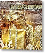 Merry Christmas Gold Metal Print by Mo T