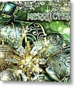 Merry Christmas Green Metal Print by Mo T