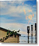 Methane Flares Metal Print by MJ Olsen
