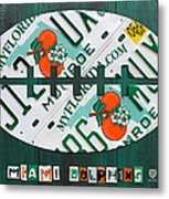 Miami Dolphins Football Recycled License Plate Art Metal Print by Design Turnpike